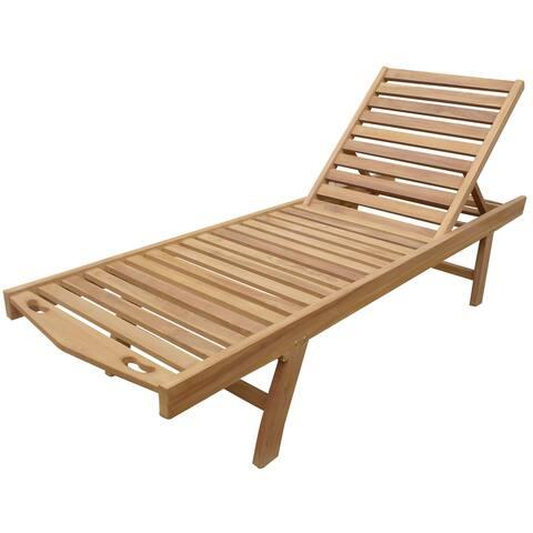 Seven Seas Teak Key West Outdoor Teak Wood Patio Pool Lounger