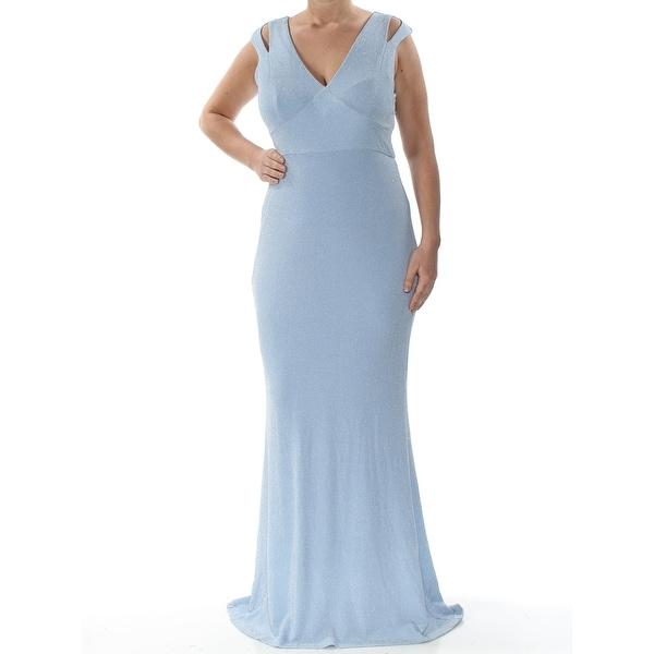 c5b97d05e68e2 CALVIN KLEIN Womens Light Blue Cut Out Cap Sleeve V Neck Full-Length  Mermaid Formal Dress Size: 12
