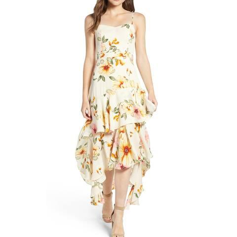 Leith Yellow Floral Print Chiffon Ruffled XXL Shift Slip Dress