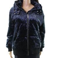 Abound NEW Navy Blue Women's Size XS Velvet Puffer Full Zip Jacket