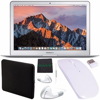 "Apple 13.3"" MacBook Air 128GB SSD #MQD32LL/A + White Wired Earbuds Headphones + Padded Case + Optical Wireless Mouse Bundle"