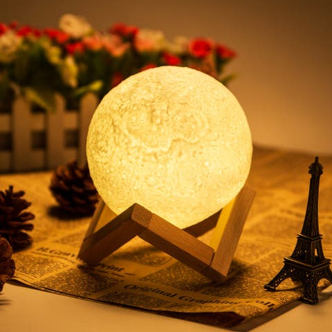 Rechargeable LED Moon Lamp Night Light with 3 Light Modes for Holiday Décor - L