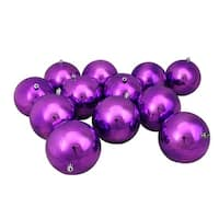 "12ct Purple Shatterproof Shiny Christmas Ball Ornaments 4"" (100mm)"