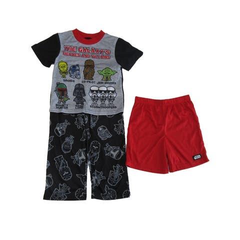 Disney Little Boys Red Black Star Wars 3pc Top Pants Shorts Pajama Set