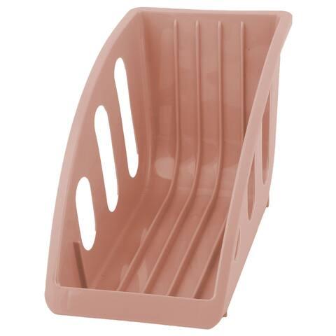 Restaurant Kitchen Plastic Plate Bowl Drying Storage Holder Dish Rack Pink