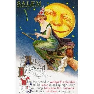Salem, MA Halloween Witch & Moon - Vintage Artwork (Art Print - Multiple Sizes)