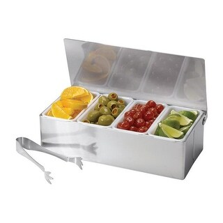 Tablecraft Bar Caddy with Tongs Stainless Steel Plastic Silver