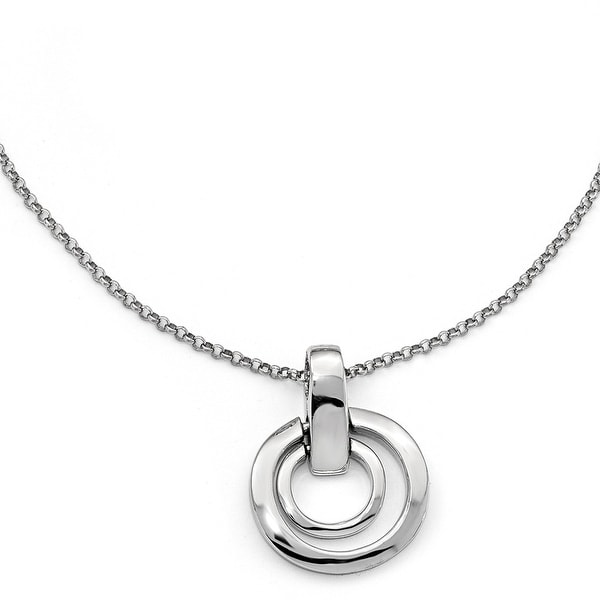 Italian Sterling Silver Polished Circles with 1in ext. Necklace - 17 inches