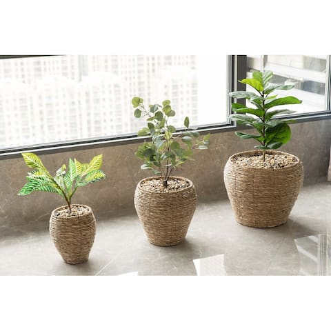 Woven Round Flower Pot Planter Basket with Leak-Proof Plastic Lining- Set of 3