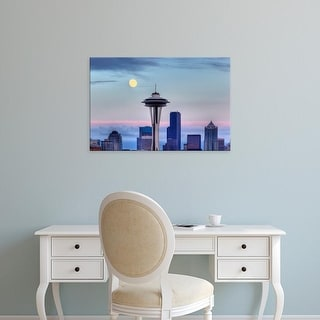Easy Art Prints Jamie & Judy Wild's 'Seattle skyline with moon rising from Kerry Park' Premium Canvas Art