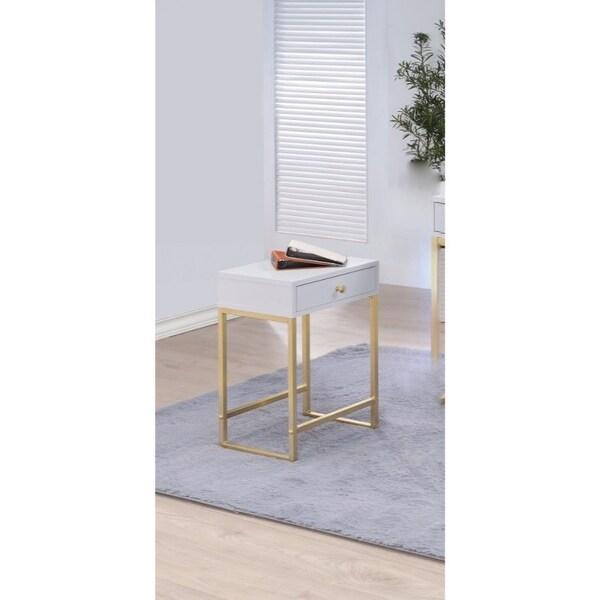 Astonishing Side Table, White & Gold