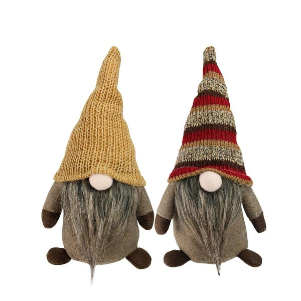 """2-Piece Set of Brown Thanksgiving Autumn Traditional Sitting Gnomes with Long Hats 20.5"""""""