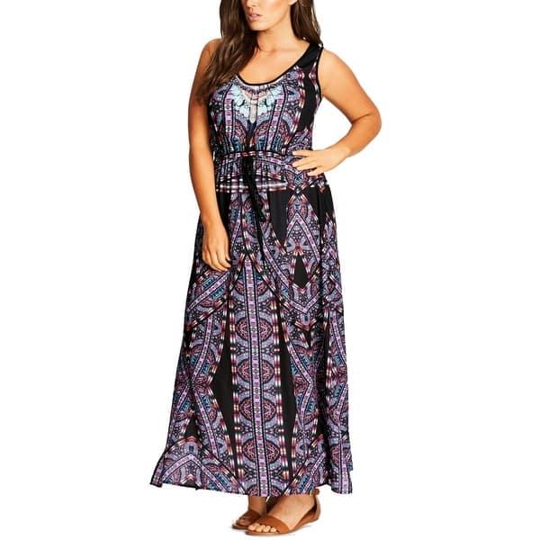 e2b048eba9 Shop City Chic Black Womens Size 18 Plus V Neck Printed Maxi Dress ...