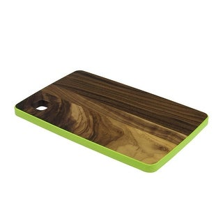 "12.5"" Small Handcrafted Walnut Wood Cutting Board with Lime Green Trim"