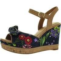Clarks Women's Amelia Joyce Wedge Sandals - navy flowered - 10 b(m) us
