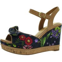 Clarks Women's Amelia Joyce Wedge Sandals - navy flowered - 10 b(m) us