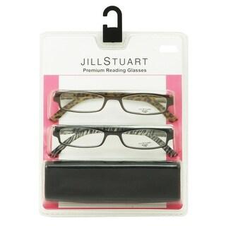 Jill Stuart Womens 2 Pack Plastic Reading Glasses +2.5 Black/Brown JS004, Includes Jill Stuart Hard Fashion Case