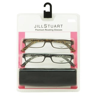 Jill Stuart Womens 2 Pack Plastic Reading Glasses +2.5 Black/Brown JS004, Includes Jill Stuart Hard Fashion Case - Black