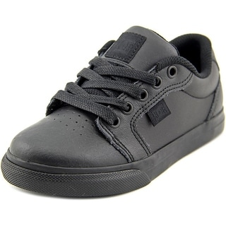 DC Shoes Anvil SE Youth Round Toe Leather Black Sneakers