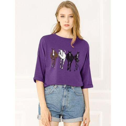 Allegra K Women's Drop Shoulder 3/4 Sleeves Horse Print Loose Top
