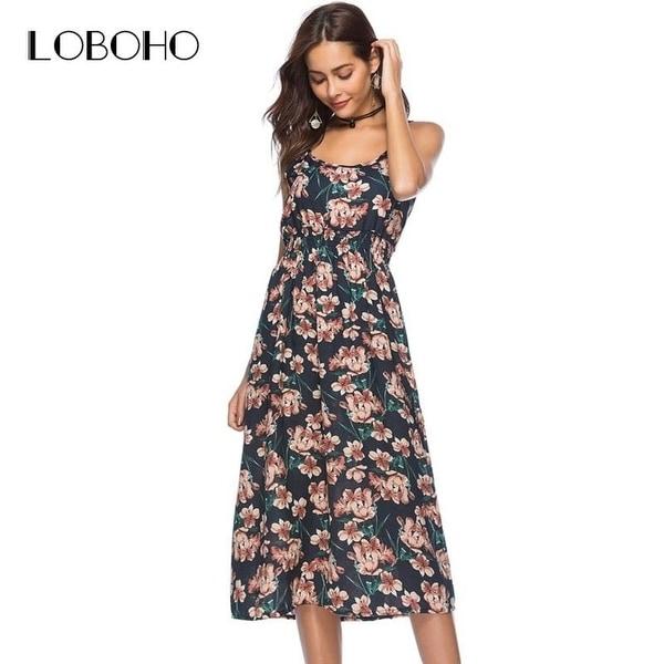 fc02164c1d9 Spaghetti Strap Long Dress Summer 2018 Arrival Floral Print Dress Boho  Style Fashion Holiday Elastic Waist