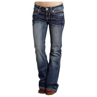 Stetson Western Denim Jeans Womens Flared Med Wash