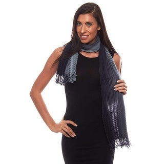 Walking on Air Pleated Ombre Cotton Scarf with Fringe