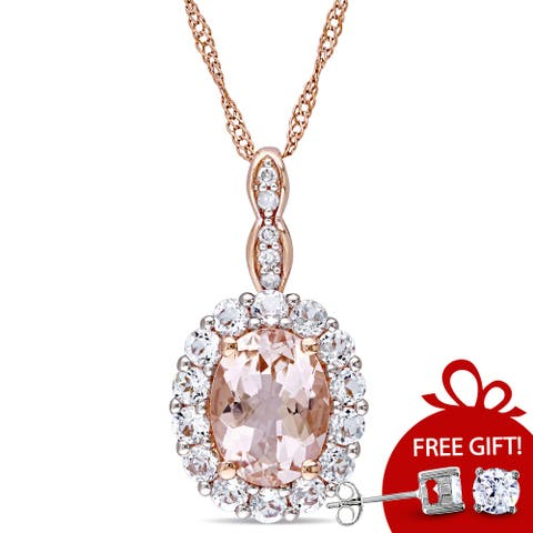 Miadora 14k Rose Gold Oval-cut Morganite, White Topaz and Diamond Accent Halo Drop Necklace