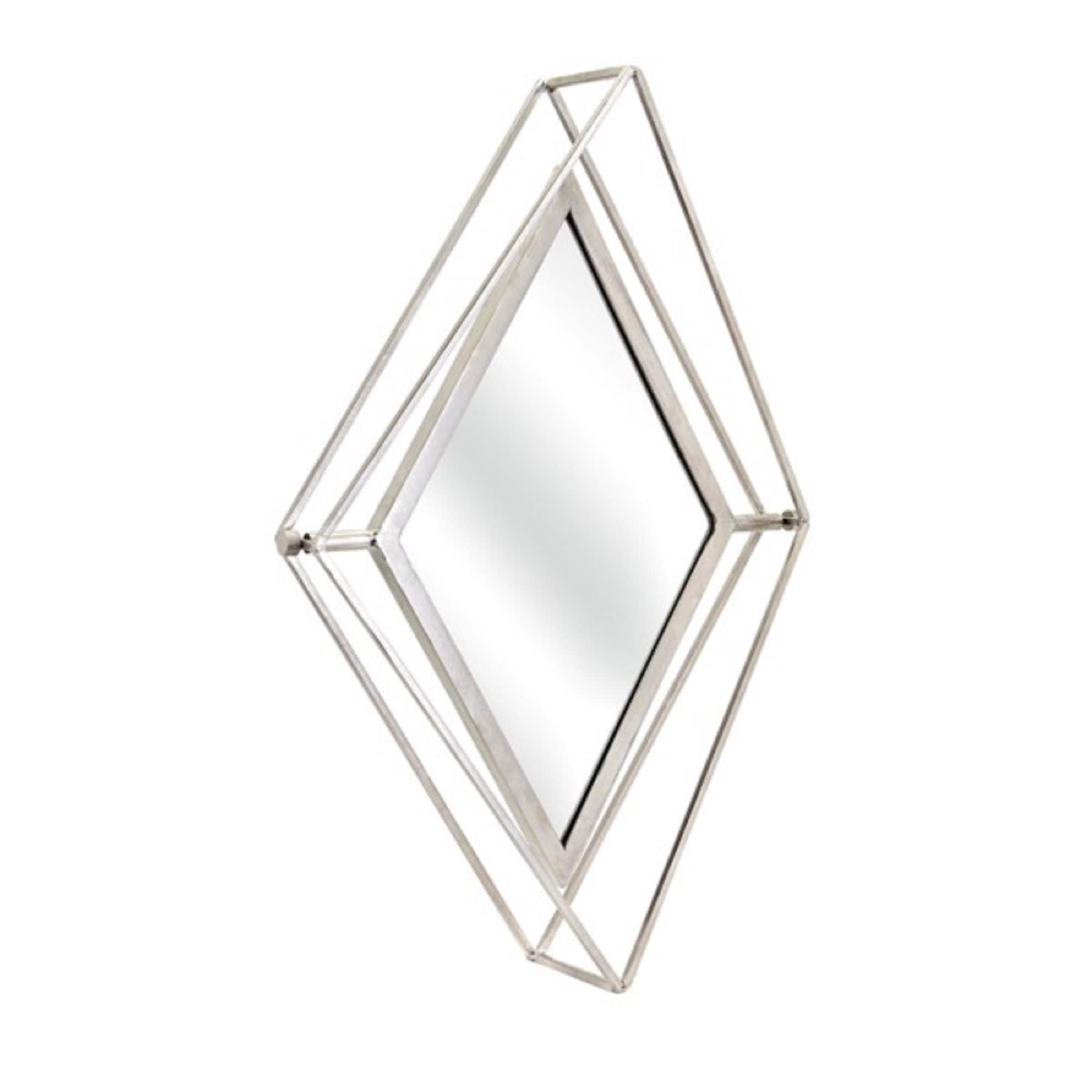 32 Silver Colored Distressed Finished Decorative Livvy Diamond Shaped Mirror Overstock 22121372