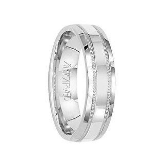 PLEDGE 14k White Gold Wedding Band Flat Polished Finish Center with Milgrain Design by Artcarved - 5.5 mm