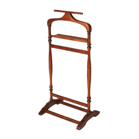 Traditional Wooden Valet Stand in Olive Ash Burl Finish - Medium Brown - N/A