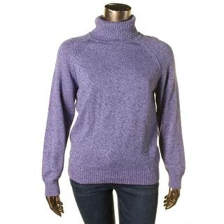 Karen Scott Womens Marled Ribbed Trim Turtleneck Sweater