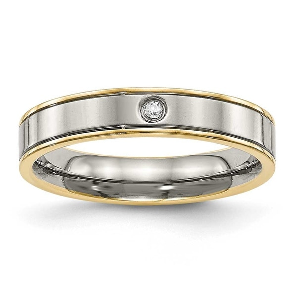 Titanium Polished Yellow IP Grooved Comfort Back CZ Ring (5 mm)
