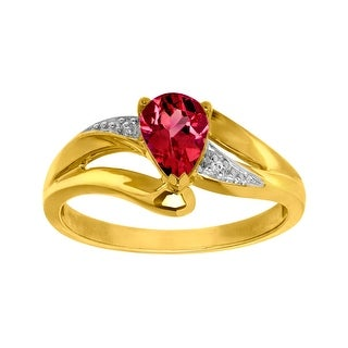 1 ct Garnet Ring with Diamond in 10K Gold - Red