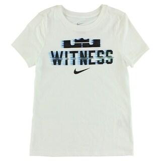 Nike Girls LeBron James Witness Teleport T Shirt White - WHITE/BLACK - S