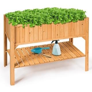 Raised Garden Bed Elevated Planter Box Shelf Standing Garden Herb Garden Wood - Natural
