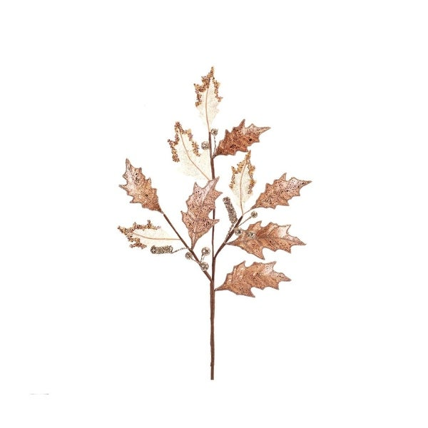 "28"" Golden Colored and White Holly Leaf with Berries Artificial Christmas Spray - GOLD"