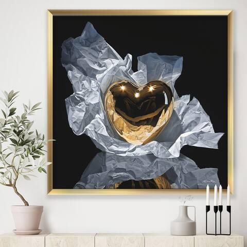 Designart 'Heart of Gold' Modern & Contemporary Framed Art Print