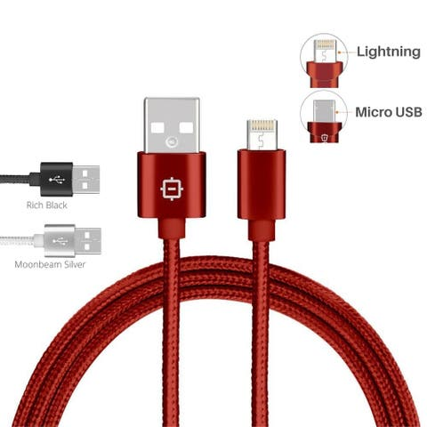 Urbo 2-in-1 (Lightning + Micro USB) Universal Reversible Charging Cable for Apple and Android Phones, Tablets, Cameras