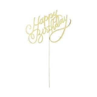 Cakewalk 6095 9.5 in. Gold Happy Birthday Paper Cake Topper