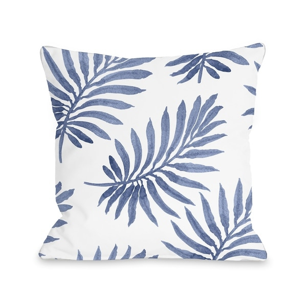 Vibrant Palm - Navy Throw Pillow. Opens flyout.