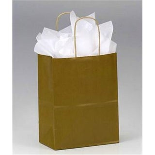 Bags & Bows by Deluxe Khaki Varnish Stripe Shoppers - Case of 250