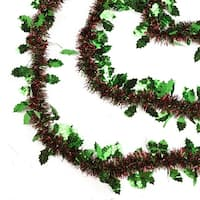 50' Shiny Red Christmas Tinsel Garland with Green Holly - Unlit