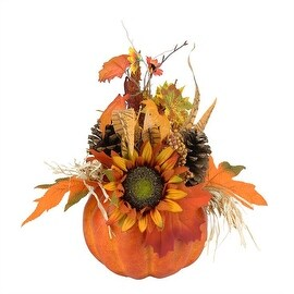 """10"""" Autumn Harvest Artificial Pumpkin with Mixed Fall Leaves Mums and Pine Cones Decoration"""