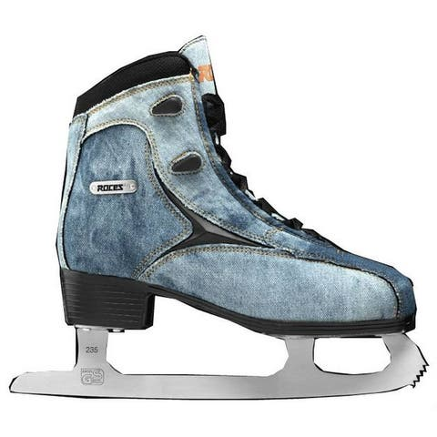 Roces Women's Denim Glamour Figure Ice Skates Lace-Up Superior Italian Navy