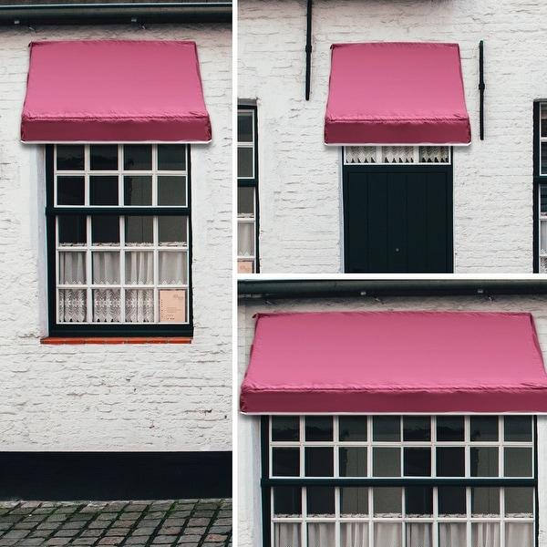 Gymax Window Awning Door Canopy Sun Rain Shade Shelter - burgundy 2 x 4ft