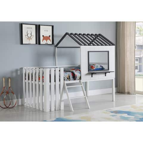 Timber White and Gunmetal House-designed Twin Loft Bed