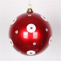 8 in. Candy Apple Red With White Glitter Polka Dots Christmas Ball