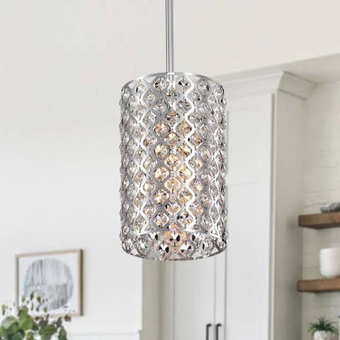 1-light Chrome 6-inch Crystal Pendant Light