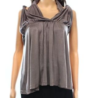 La Rok NEW Gray Women's Size Medium M V-Neck Gathered Stretch Blouse
